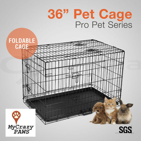 "36"" Pet Dog Cage Puppy Cat Collapsible Metal Small Animal Cage Portable House"