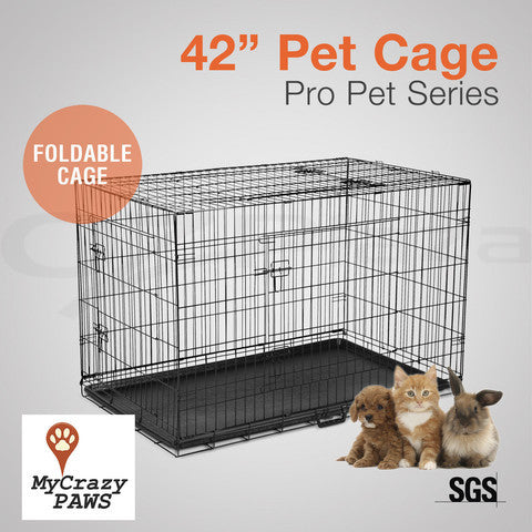 "42"" Pet Dog Cage Puppy Cat Collapsible Metal Small Animal Cage Portable House"