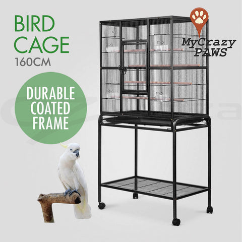Large Bird Cage Pet Cage Parrot Aviary Budgie Perch Castor with Wheels Stand