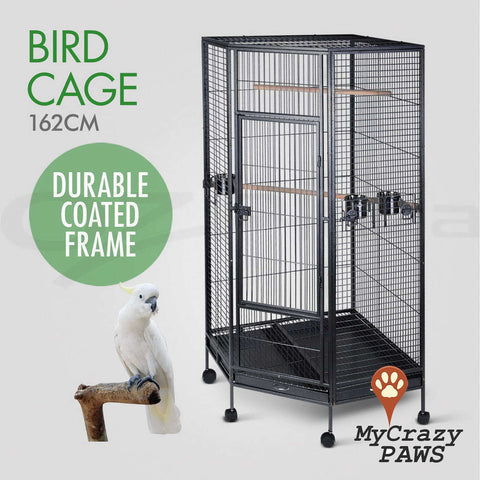 Large 162CM  Bird Cage Pet Cage Parrot Aviary Budgie Perch Castor with Wheels Stand