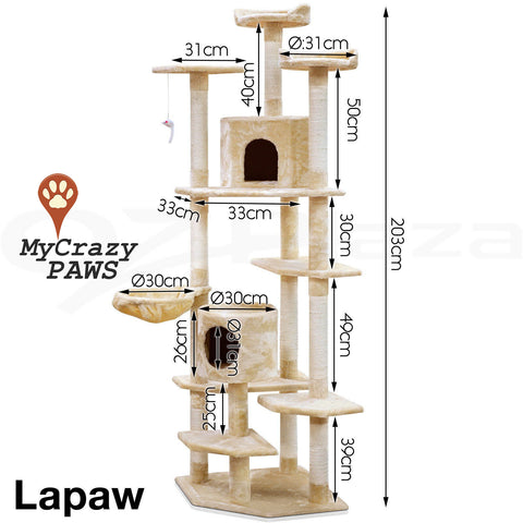 Cat Tree House / Cat Play Gym House / Play Time with Scratching Post - MCPLAPAW
