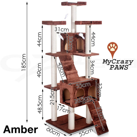 Cat Tree House / Cat Play Gym House / Play Time with Scratching Post - MCPAMBER