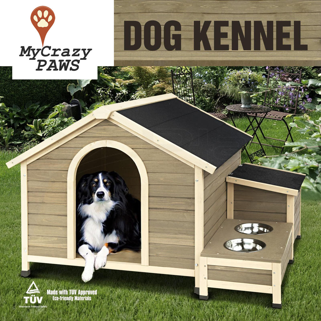 Extra Large Pet Dog House Timber House Wooden With Storage Box And Bowls