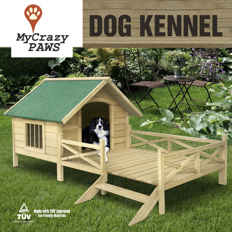 Extra Large Pet Dog House Timber House Wooden with Porch Deck