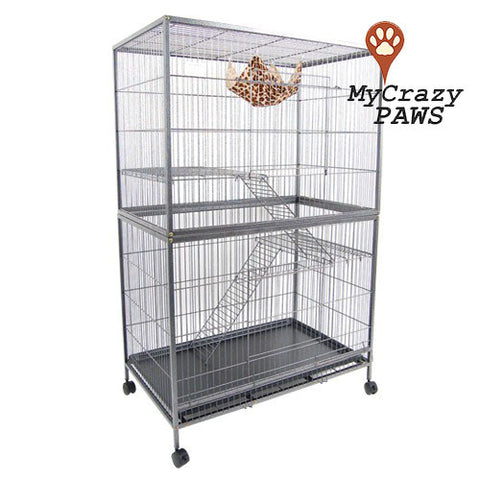 Pet Cage 3x Level Pet Cage Ferret Bird Small Animal Cage Cat Hamster Rat Budgie with Wheels