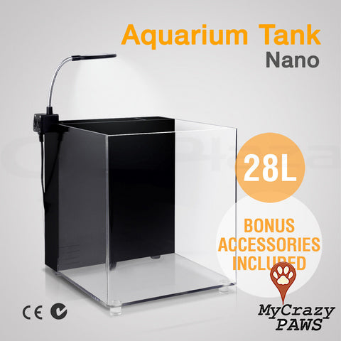 Fish Tank Aquarium Nano LED Light Sea Marine Cube Coral Aquarium Tank w/ Filter and Pump