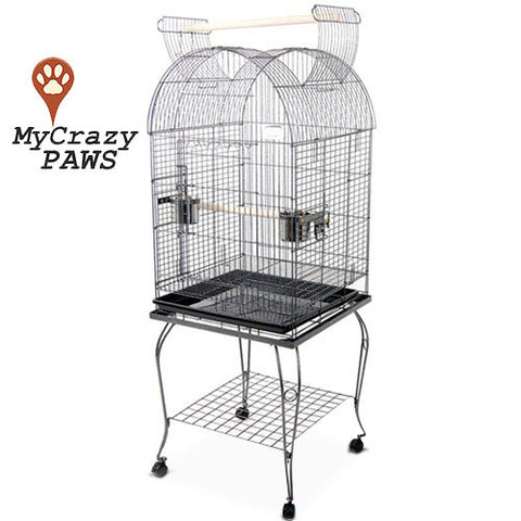 Bird Cage Pet Cage Parrot Aviary Budgie Perch Castor Open Roof with Wheel Stand 150CM