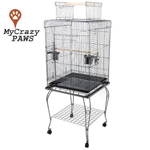 Bird Cage Pet Cage Parrot Aviary Budgie Perch Castor Open Roof with Wheel Stand 145CM
