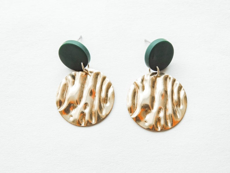 Diane - Polymer Clay & Hammered Brass Earrings