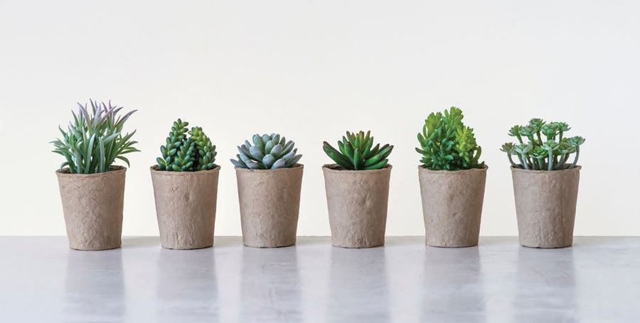 Faux Succulent in Paper Pot