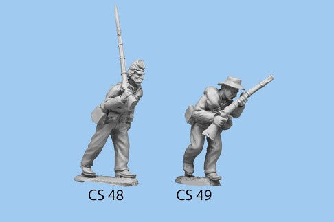 CS-49 Confederate Infantry in Shell Jacket / Blanket Roll / Advancing / left foot forward