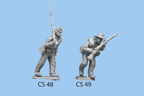 CS-48 Confederate Infantry in Shell Jacket / Blanket Roll / Advancing / Rifle on Shoulder, left foot forward