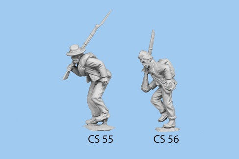 CS-56 Confederate Infantry in Shell Jacket / Blanket Roll / Advancing / Rifle on Shoulder, hand on canteen