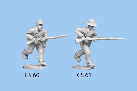 CS-61 Confederate Infantry in Shell Jacket / Charging / Rifle Level, left leg bent