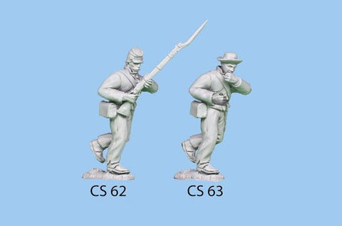 CS-62 Confederate Infantry in Shell Jacket / Charging / Rifle held up