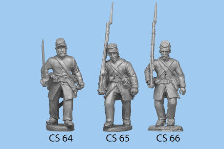 CS-66 Confederate Infantry in Frock Coat / Advancing Rifle on Shoulder / Legs closer together