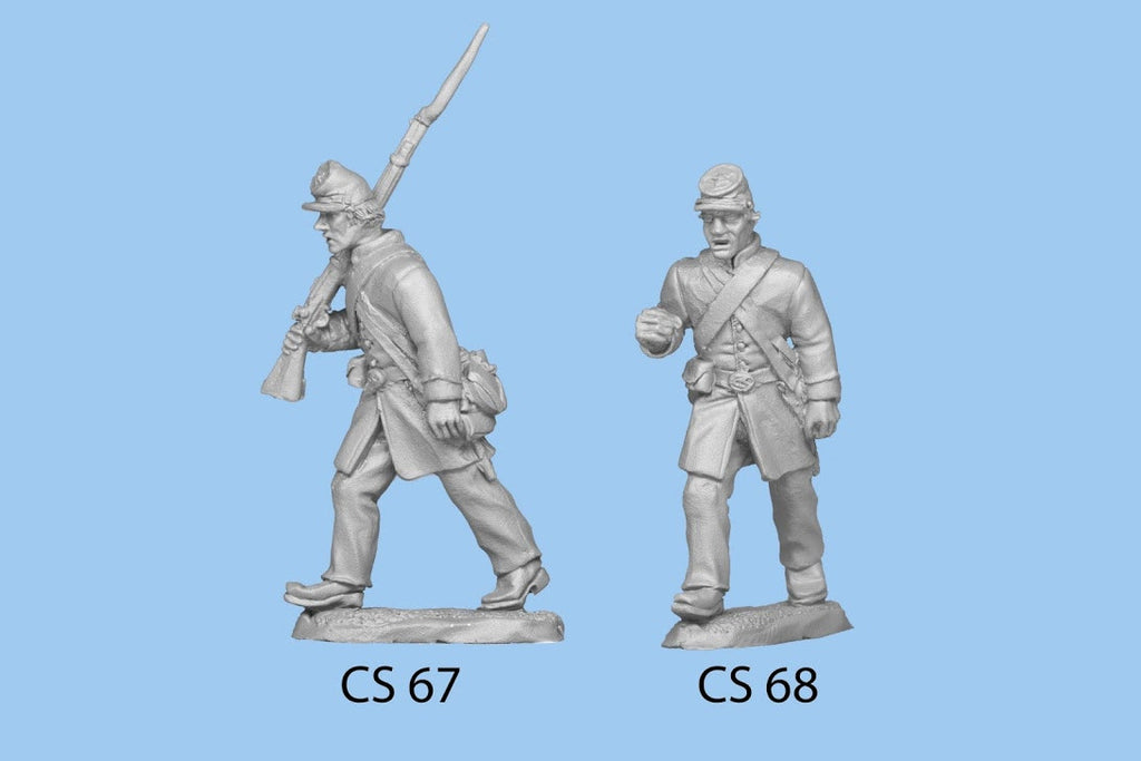 CS-67 Confederate Infantry in Frock Coat / Advancing Rifle on Shoulder / Right leg forward at longer step