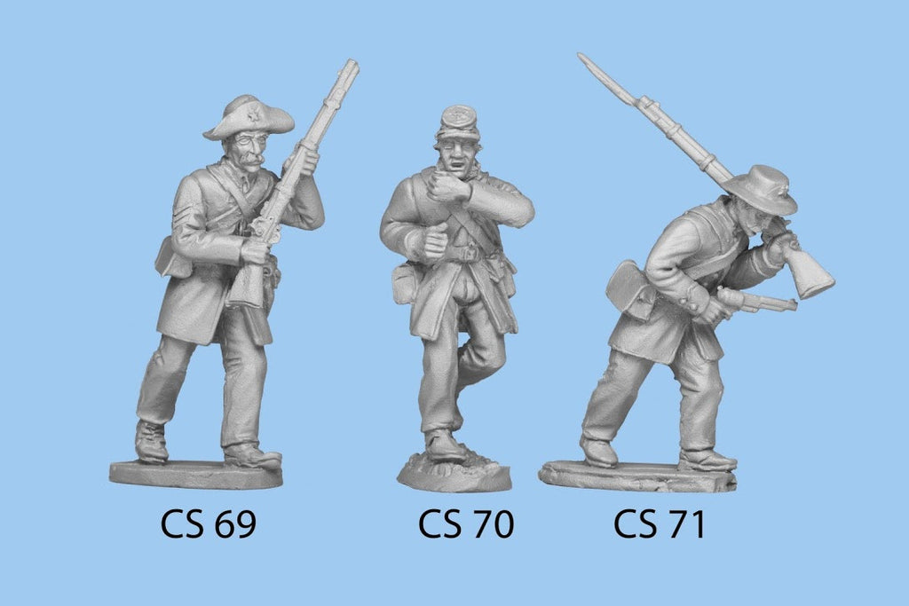 CS-71 Confederate Infantry in Frock Coat / Advancing, pistol in on hand, rifle over shoulder