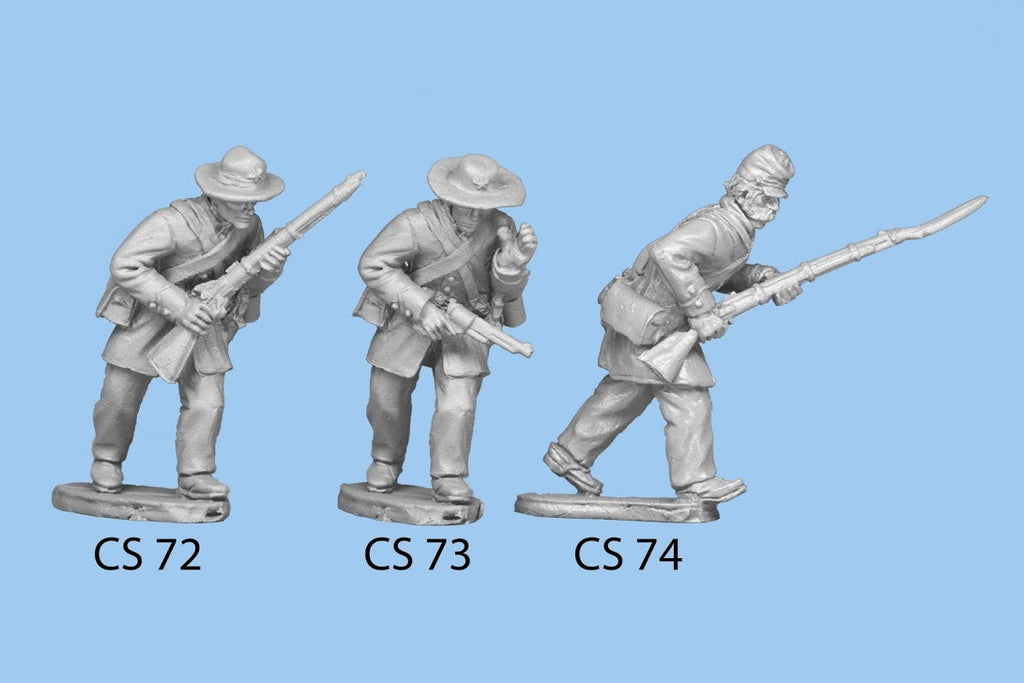 CS-73 Confederate Infantry in Frock Coat / Advancing, pistol in one hand, standard over shoulder