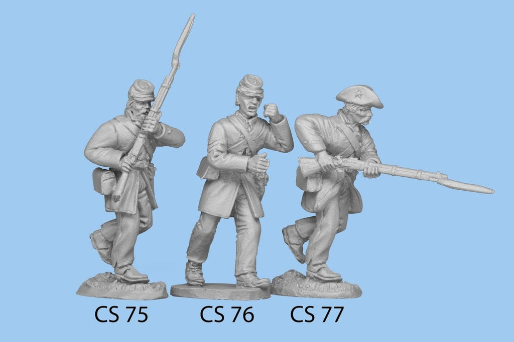CS-77 Confederate Infantry in Frock Coat / Charging Rifle Level, left leg bent