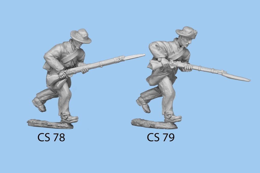 CS-79 Confederate Infantry in Frock Coat / Charging Rifle Level, held a bit up, right leg forward