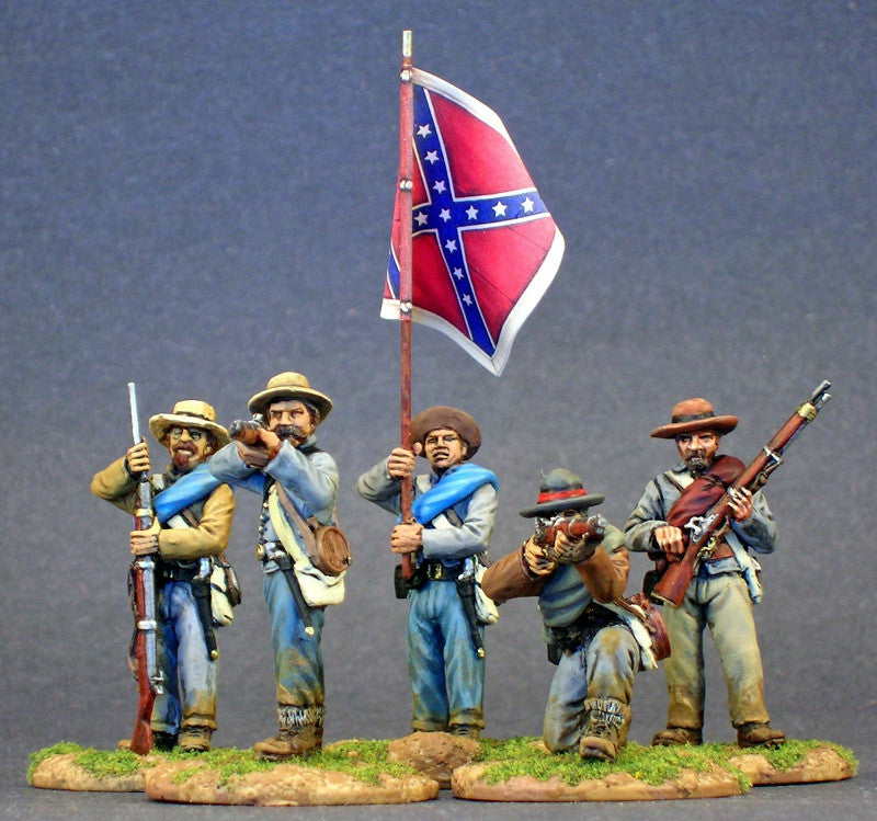 ACWPACK23 - Infantry Battle Pack -  24 Confederate Infantry / Texas Brigade in Shell Jackets / Charging