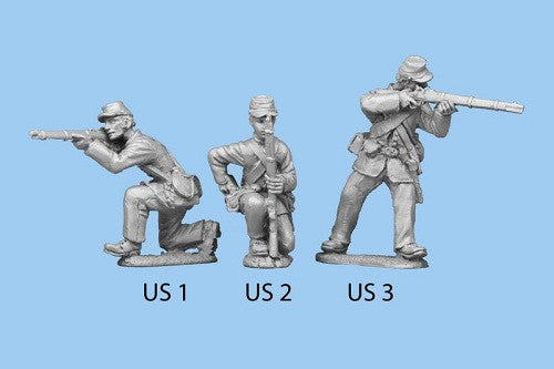 US-2 Union Infantry in Sack Coats - Kneeling and Reaching for Cartridge