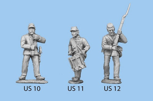 US-12 Union Infantry in Sack Coats - Seargent Standing / Holding Rifle in both hands