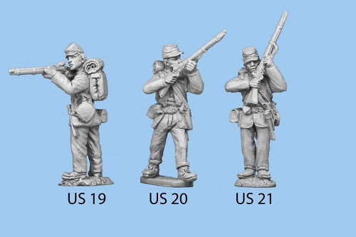US-20 Union Infantry in Sack Coats / Backpack - Standing and Preparing to Fire