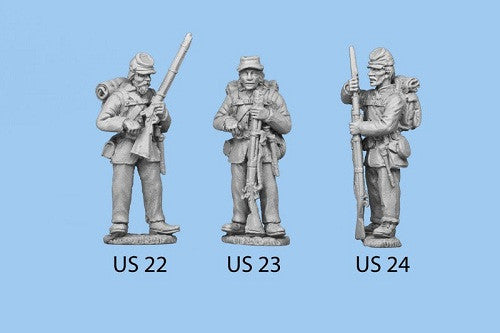 US-23 Union Infantry in Sack Coats / Backpack - Standing and Reaching for a Cap, rifle grounded