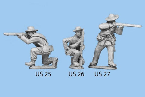 US-26 Union Infantry in Sack Coats / Blanket Roll / Kneeling and Reaching for Cartridge