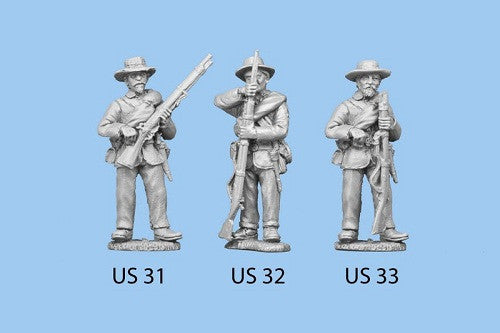US-32 Union Infantry in Sack Coats / Blanket Roll / Standing and Reaching for Cap, rifle grounded