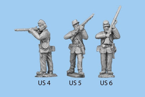 US-6 Union Infantry in Sack Coats - Standing with Rifle at High Port