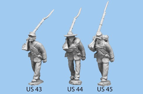 US-44 Union Infantry in Sack Coats / Advancing / Blanket Roll / Rifle on Shoulder, left foot forward