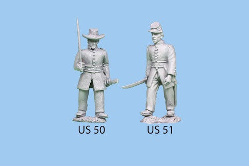 US-50 Union Infantry in Frock Coats / Officer Standing / Holding Sword