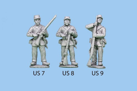 US-7 Union Infantry in Sack Coats - Standing and Reaching for a Cap / Rifle at Waist