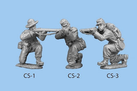 CS-2 Confederate Infantry in Shell Jacket / Blanket Roll - Kneeling and Firing
