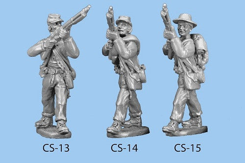CS-14 Confederate Infantry in Shell Jacket / Blanket Roll / Standing and Preparing to Fire