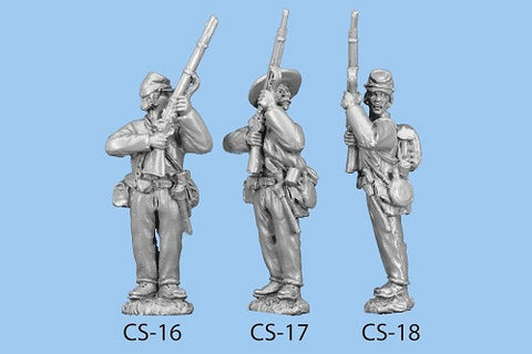 CS-17 Confederate Infantry in Shell Jacket / Blanket Roll / Standing with Rifle at High Port