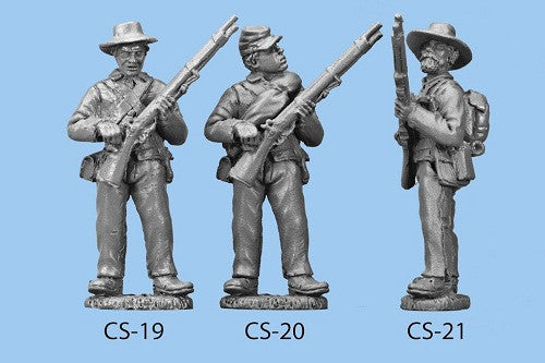 CS-21 Confederate Infantry in Shell Jacket / Back Pack / Standing and Reaching for a Cap / Rifle at Waist