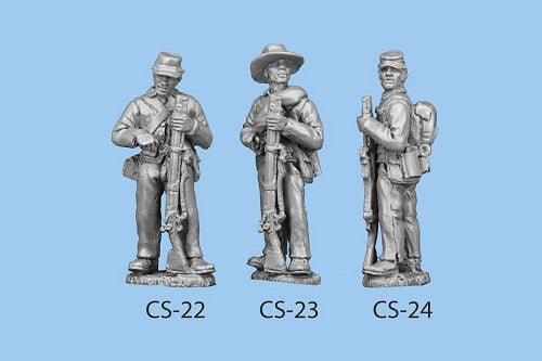 CS-24 Confederate Infantry in Shell Jacket / Back Pack / Standing and Reaching for a Cap / Rifle Grounded