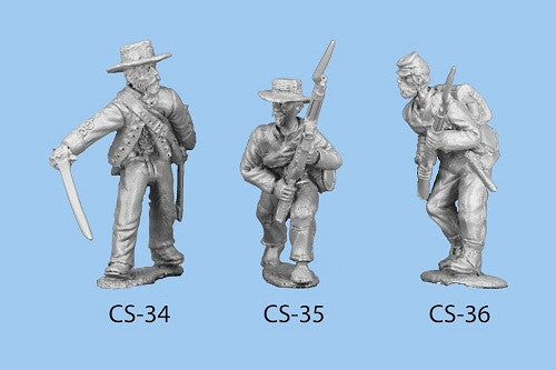 CS-35 Confederate Infantry in Shell Jacket / Blanket Roll / Barefoot / Advancing, crouched down