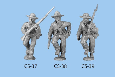 CS-39 Confederate Infantry in Shell Jacket / Blanket Roll / Advancing / Rifle on Shoulder / Barefoot