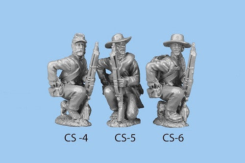 CS-6 Confederate Infantry in Shell Jacket / Back Pack / Barefoot - Kneeling / Reaching For Cartridge