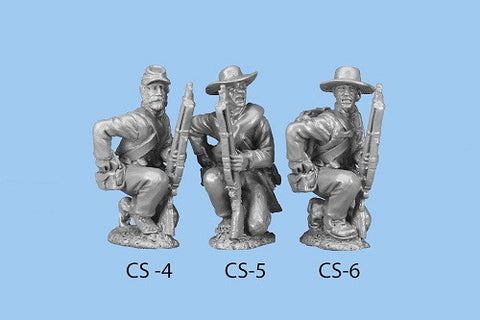 CS-5 Confederate Infantry in Shell Jacket / Blanket Roll / Barefoot - Kneeling / Reaching For Cartridge