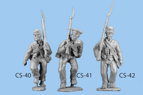 CS-40 Confederate Infantry in Shell Jacket / Advancing / Rifle on Shoulder / Barefoot