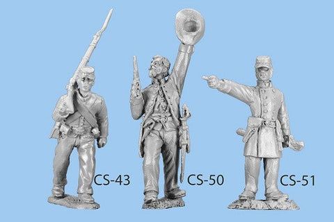 CS-51 Confederate Infantry in Frock Coat / Standing Officer pointing / Straw and Officer's Kepi included