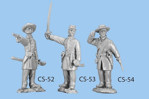 CS-52 Confederate Infantry in Frock Coat / Standing Officer firing pistol / Straw and Officer's Kepi included