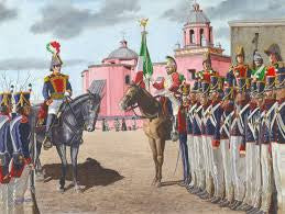 Mexican Cavalry - 12 troops - shakos and sabers - includes officer