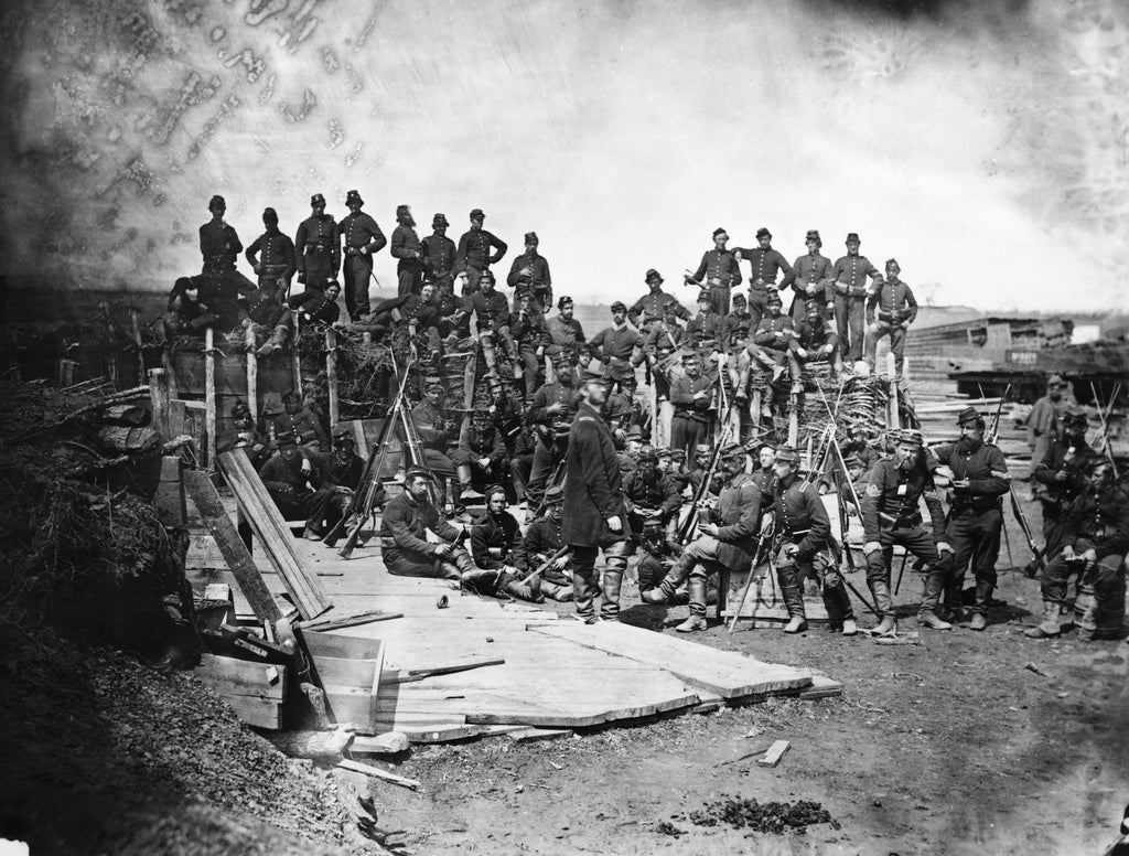 Dismounted U.S. Cavalry - 7 troops firing, officer, flag bearer, 3 holders, and 12 horses